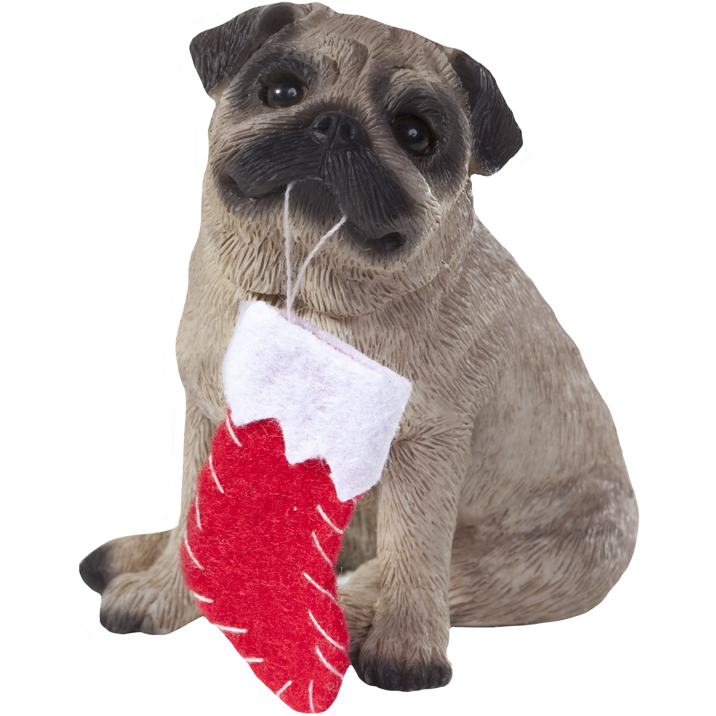 Sandicast Fawn Pug with Stocking Christmas Ornament by Sandicast