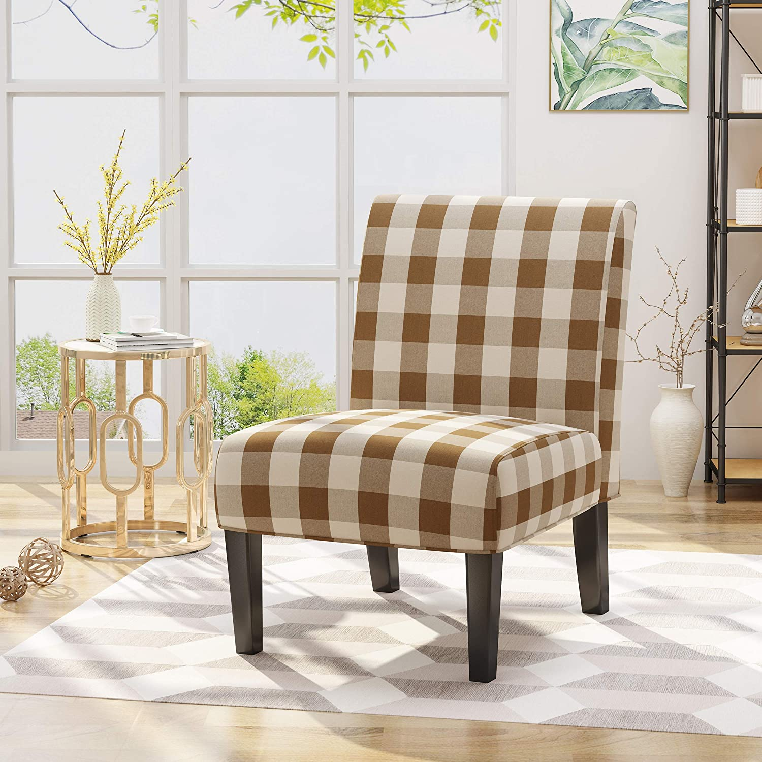 Christopher Knight Home Kendal Traditional Upholstered Farmhouse Accent Chair, Brown Checkerboard, Purple Tweed