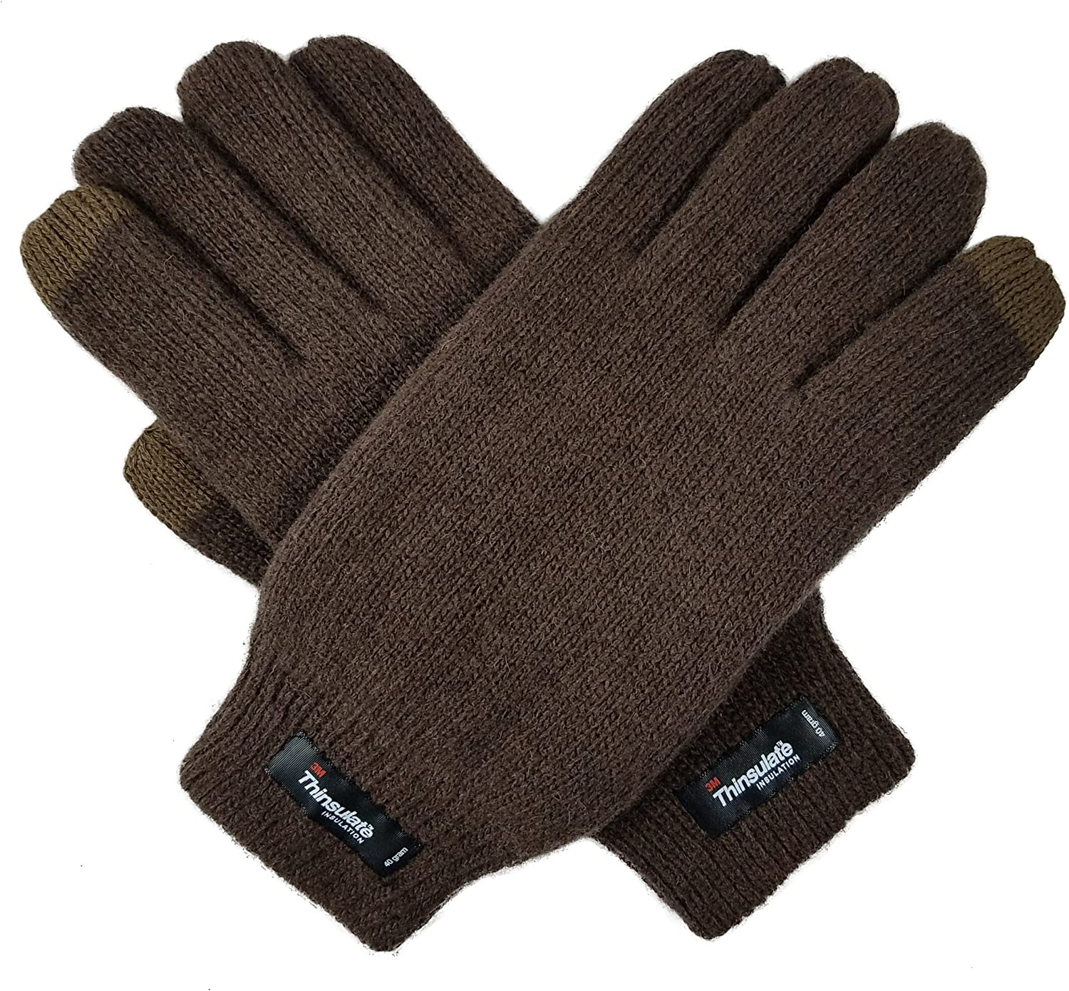 Bruceriver Men Pure Wool Knit Gloves with Thinsulate Lining and Elastic Rib Cuff