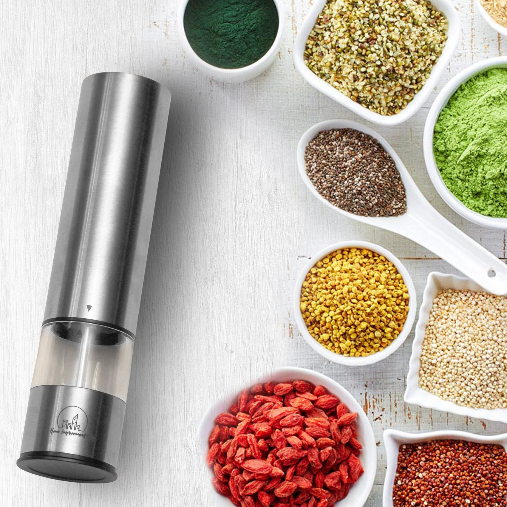 Electric Salt And Pepper Grinder Set by Home Improvement City - Battery Operated Stainless Steel Mills With LED Lights And Clear Acrylic Glass - Automatic One Hand Operation And Adjustable Coarseness by Home Improvement City (Image #9)