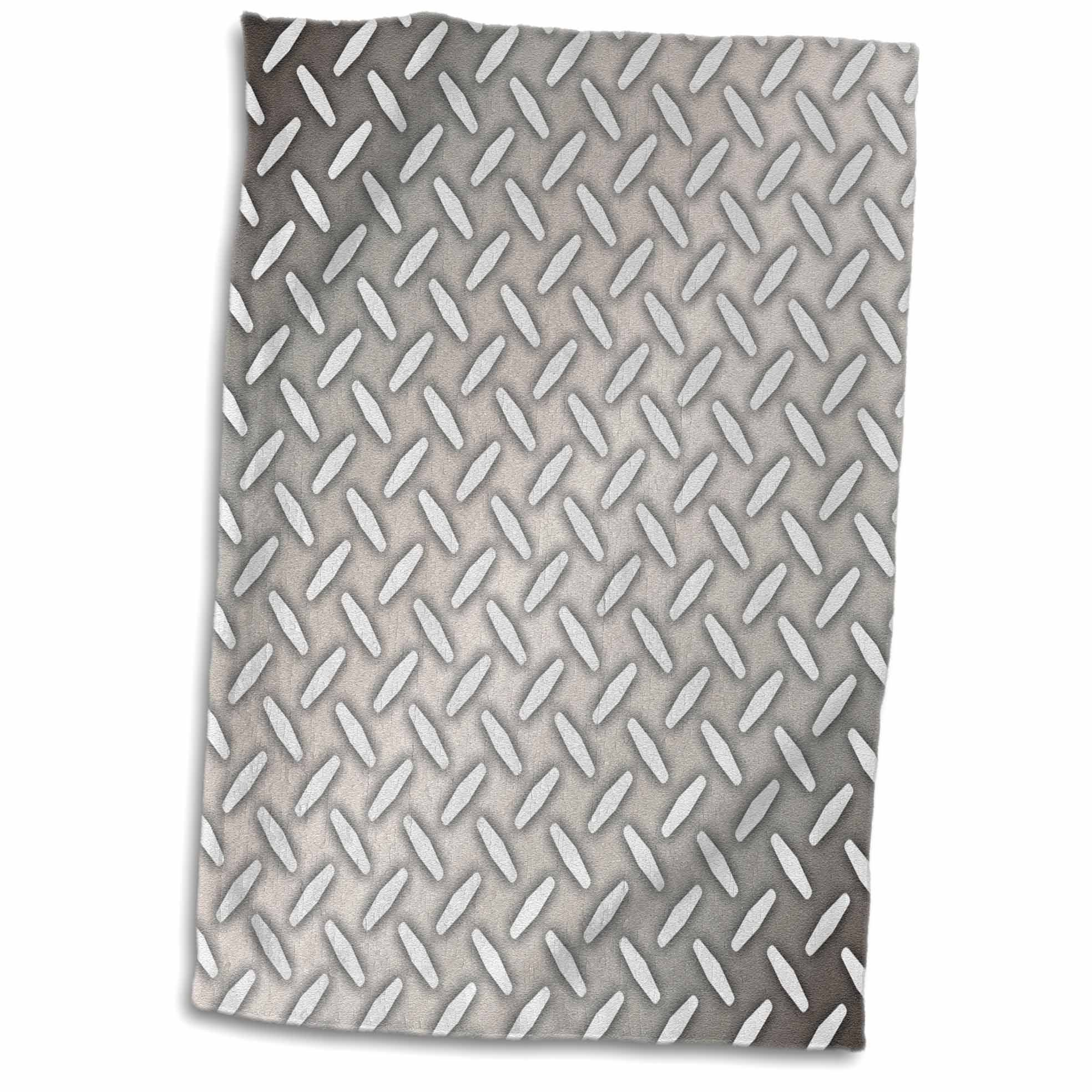 3dRose 3D Rose Gray Steel Diamond Plate Industrial Pattern Hand Towel, 15'' x 22'' by 3dRose