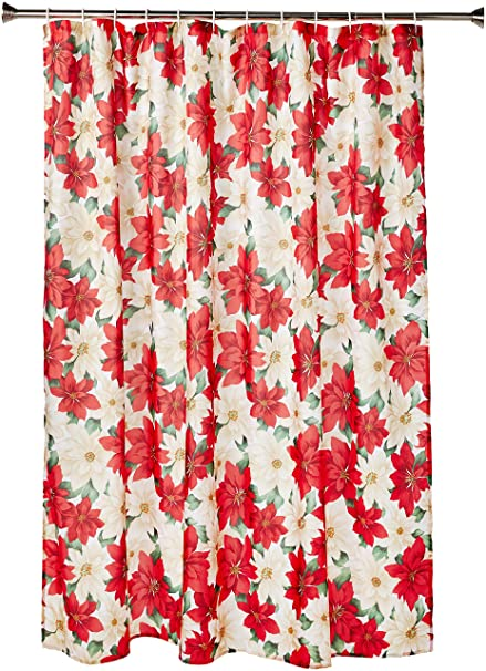 Violet Linen Decorative Christmas Printed Poinsettia Design Shower Curtain 72quot X
