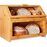 LAURA'S GREEN KITCHEN Extra Large Double Compartment Bread Box: Bamboo BreadBox w/Clear Windows- Rustic Farmhouse Style…