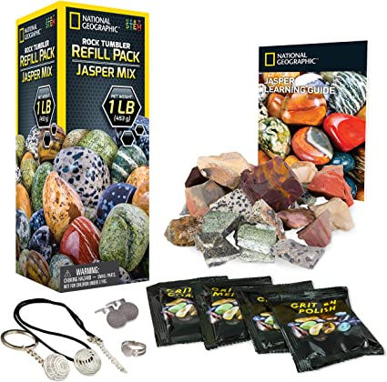 NATIONAL GEOGRAPHIC Hobby Rock Tumbler Kit with Two Bonus Rough Gemstone Refill Pack Jasper Mix /& Variety