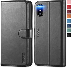 TUCCH iPhone Xs Case, iPhone Xs Wallet Case, PU Leather Stand Flip Cover RFID Blocking Wireless Charging Card Slot, Magnetic [Shockproof TPU Shell] [Auto Wake/Sleep] Compatible with iPhone Xs -Black