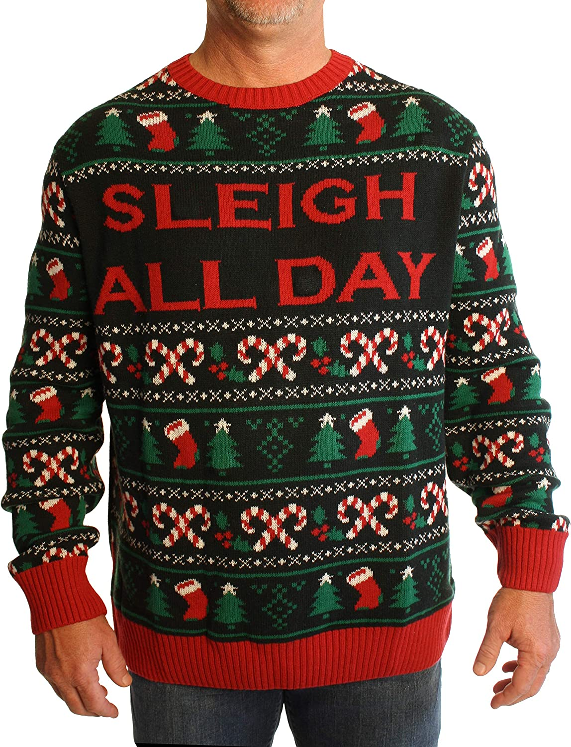 Ugly Christmas Sweater Men's Big and Tall Sleigh All Day LED Light Up Sweatshirt