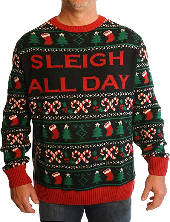 Ugly Christmas Sweater Men S Big And Tall Sleigh All Day Led Light Up Sweatshirt