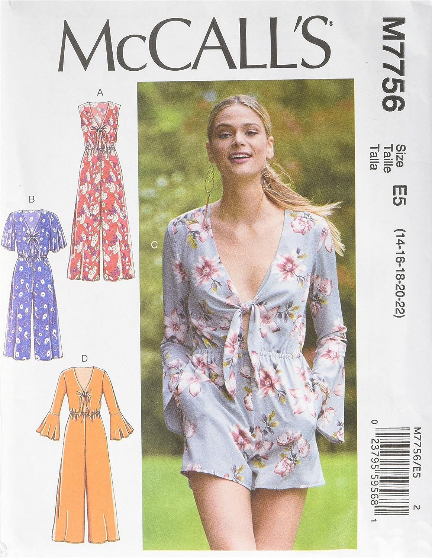 14-16-18-20-22 Jumpsuits E5 McCalls Sewing Pattern 7778 Dresses