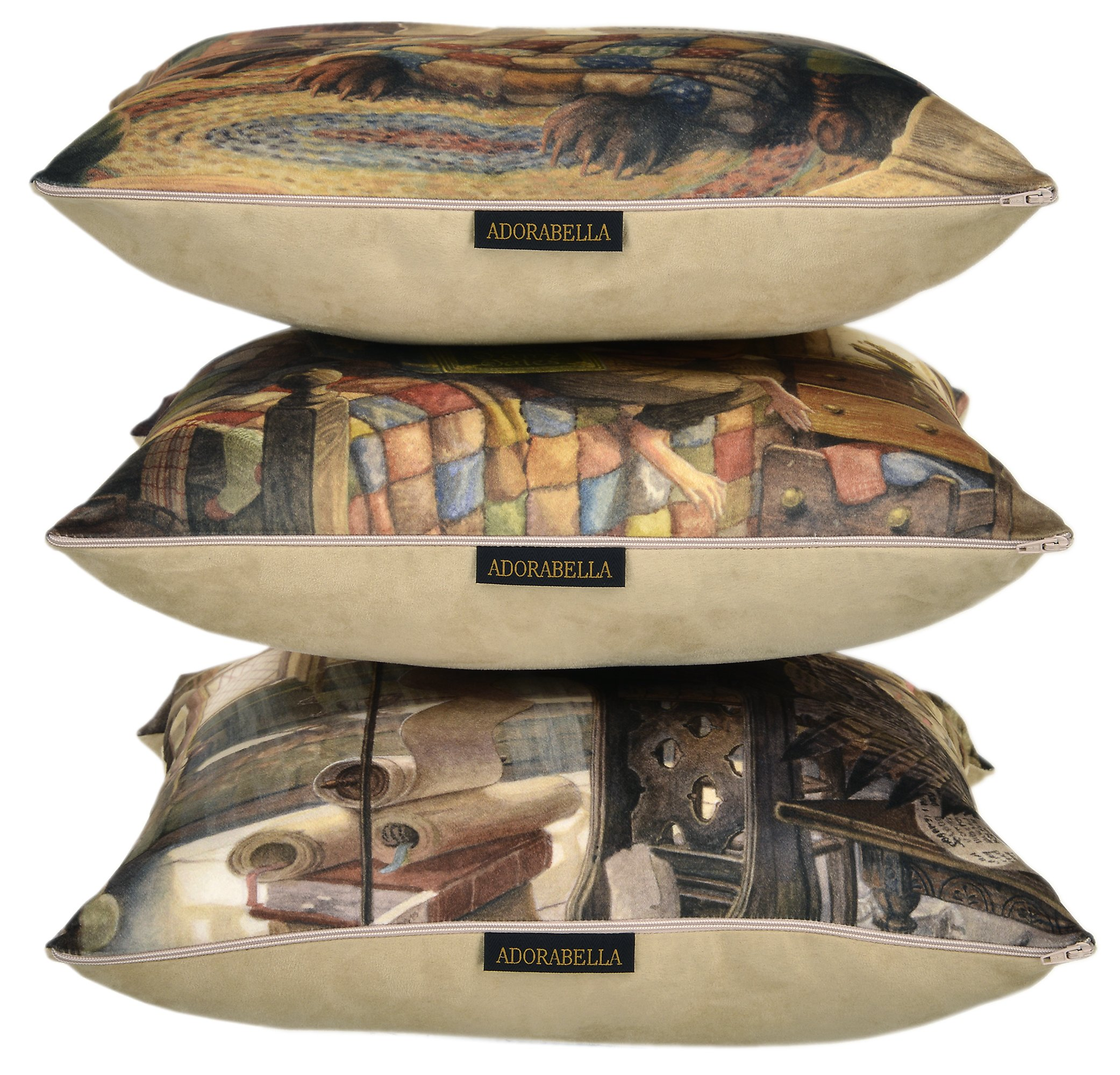 ADORABELLA Pantomime Animals Collection - Soft Touch Velvet Printed Pillow - Evening 17'' x 17'' Square Throw Pillow Home Decor Scatter Cushion - Complete With Insert by ADORABELLA (Image #3)