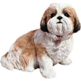 Sandicast Life Size Gold and White Shih Tzu Sculpture, Sitting