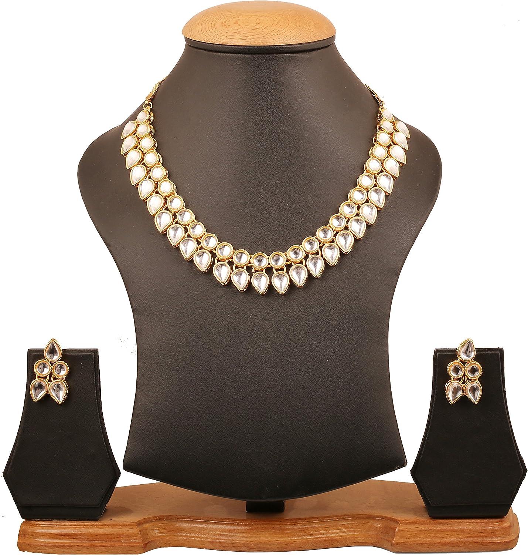 Touchstone Indische Bollywood Elite Mughal Kundan Polki Look Chandbali Mond Faux Perlen Braut Designer Schmuck Anh/änger Set f/ür Damen