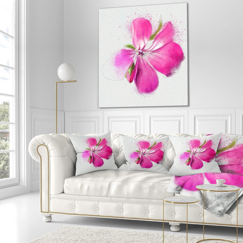Pillow Insert Designart CU13654-18-18 Full Bloom Pink Flower ...