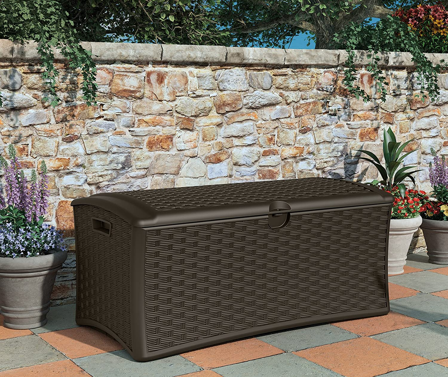 Backyard Waterproof Outdoor Storage Container for Toys Porch Yard Tools Store Items on Deck Brown Suncast 72 Gallon Resin Wicker Patio Storage Box Furniture