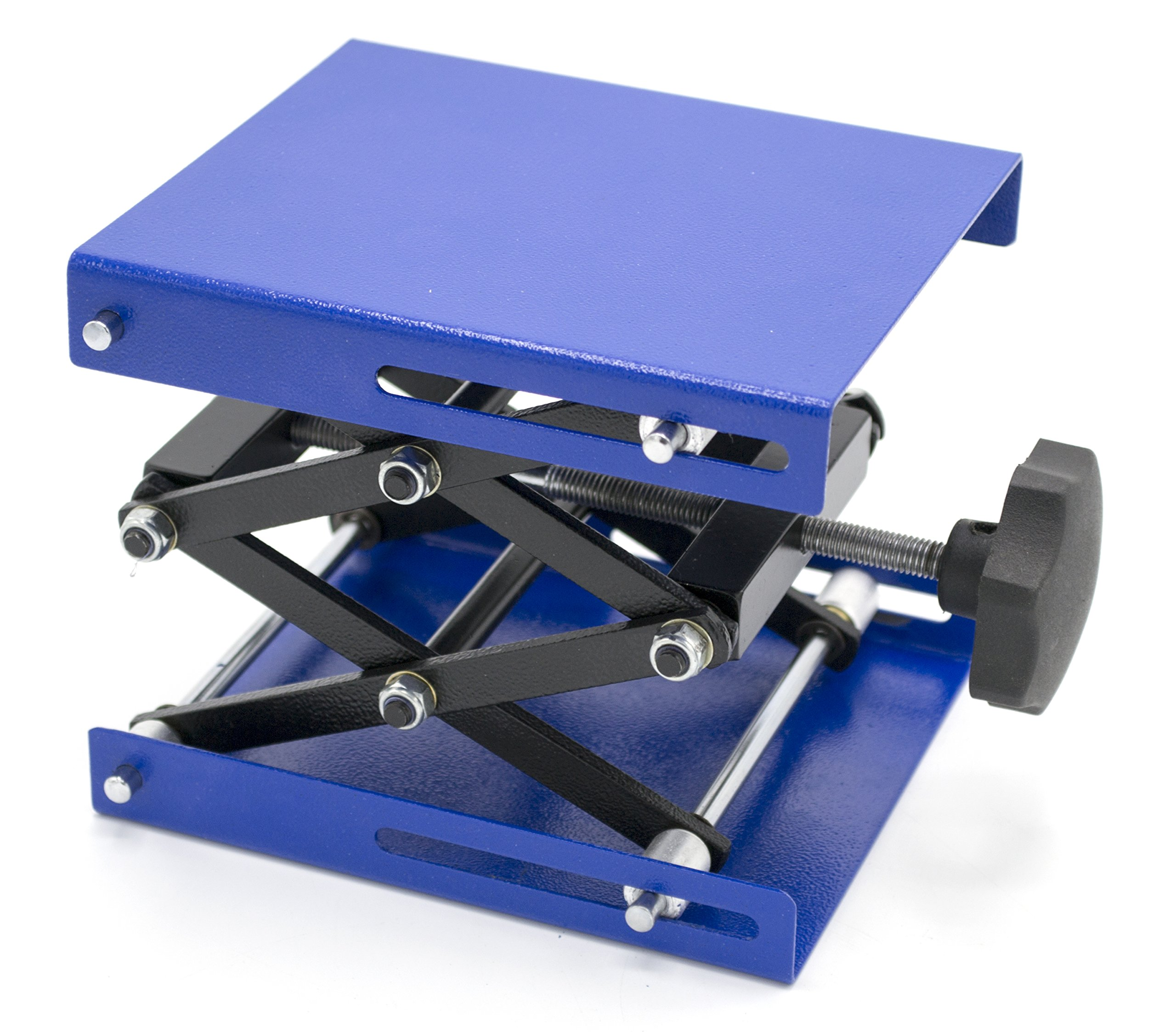 Heavy Duty Laboratory Scissor Jack - Steel Platform 6'' by 5''- Max Height 9 5/8'', Min Height 2 1/2'' - Maximum Stable Weight 55lbs