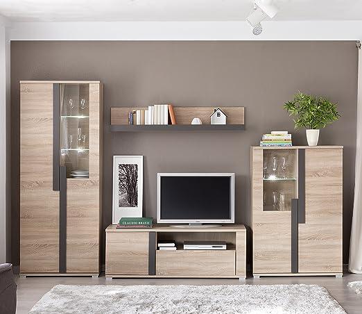 Mueble Modular Moderno de salón Link de 320 cm. formado por Mueble TV y vitrinas. Color Roble.: Amazon.es: Juguetes y juegos