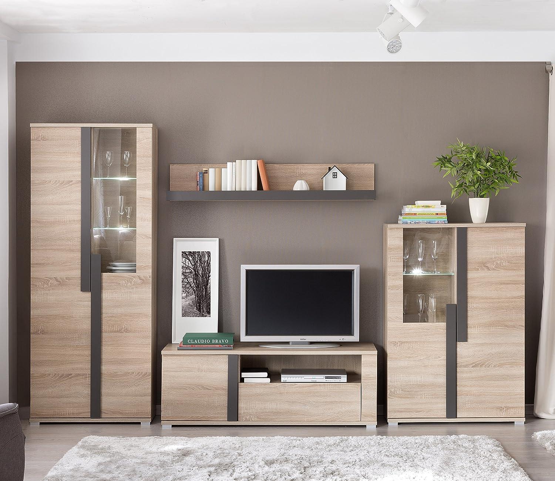 Mueble modular moderno de salón LINK de 320 cm formado por mueble tv y vitrinas