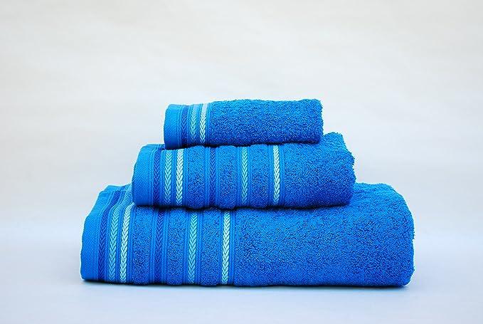 Juego toallas 3 piezas. 100% algodón ALTA CALIDAD. Densidad 520 gr/m2. Cordón AZULÓN.: Amazon.es: Hogar