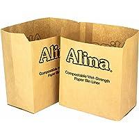Alina 6L to 8L Compostable Paper Caddy Bin Bag/Food Waste Bin Liner/Biodegradable Brown 7 Litre Paper Sack Composting Guide