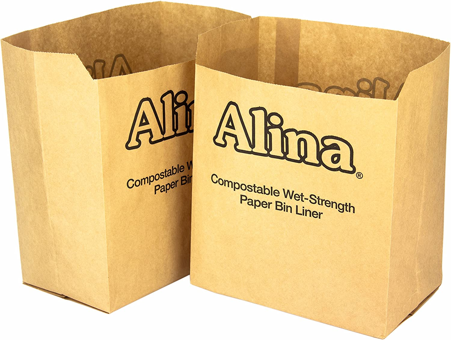 25 x Alina 6L to 8L Compostable Paper Caddy Bin Bag / Food Waste Bin Liner / Biodegradable Brown 7 Litre Paper Sack with Alina Composting Guide (25 bags)