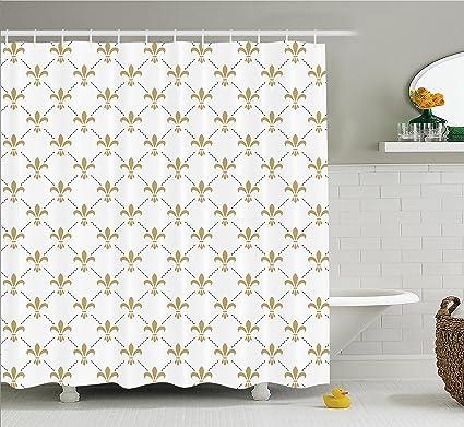 Ambesonne Fleur De Lis Shower Curtain Pattern Vintage Stylized Flower Royal Symbol