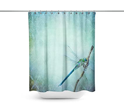 Beau Vintage Shabby Chic Background With Dragonfly Shower Curtains,Water Repellent  U0026 Anti Bacterial