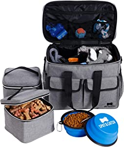 Dog Travel Bag | Pet Weekend Organizer by Spot & Catch. Pet Travel Kit Includes Pet Travel Bag Organizer, 2 Collapsible Dog Bowls, 2 Dog Food Storage Containers. Premium-Quality Dog Food Travel Bag