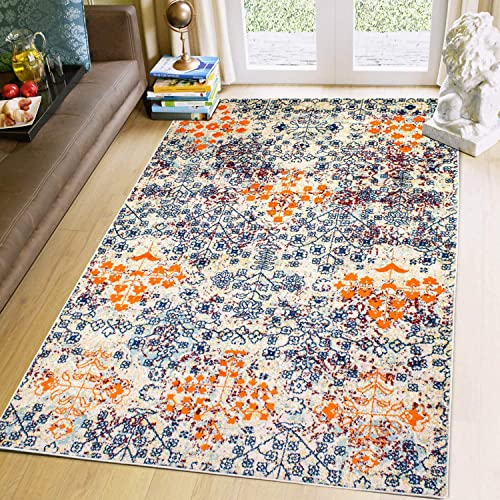 Super Area Rugs Bohemian Vintage Colorful Area Rug, 8 X 10 Multicolor Blue Orange Rug