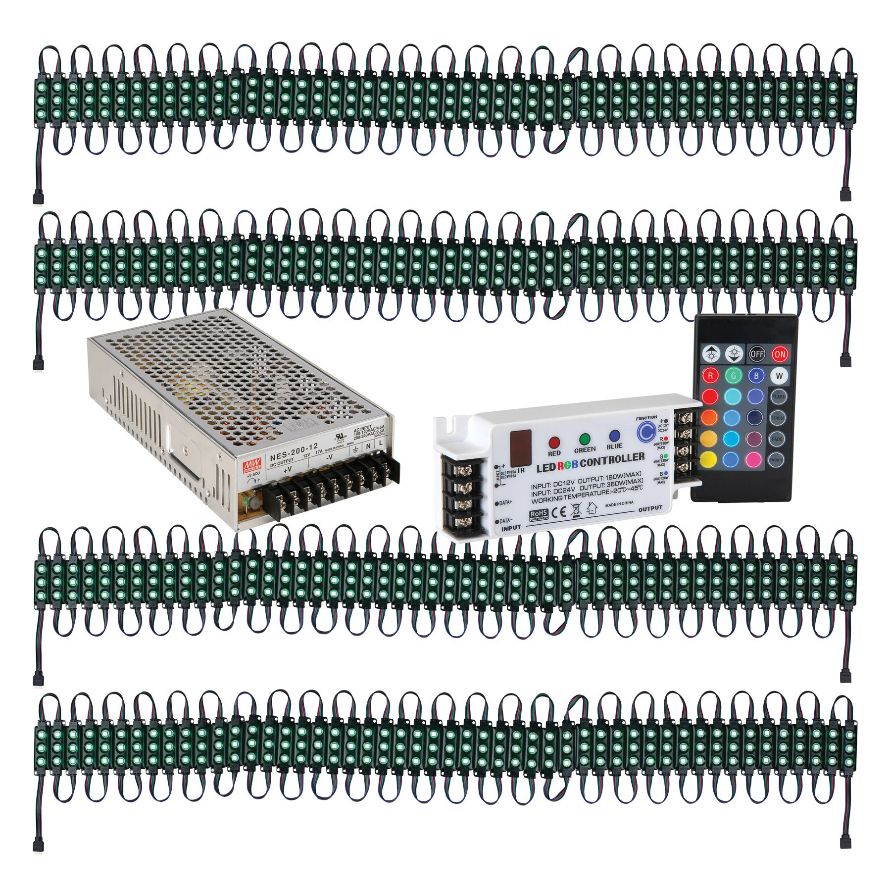 Lavolta LED Light Strip 4 x 50 Module Bundle with Controller and Power Supply