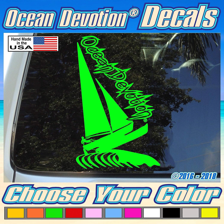 "Beach Life Truck Hobie Cat Keywords...Sea Life Boat Surfing Car Surf Salt Life Window Automobile Fishing Reel Life Sailboat /""Ocean Devotion/®/"" Vinyl Decal//Sticker 4w x 8h inches"