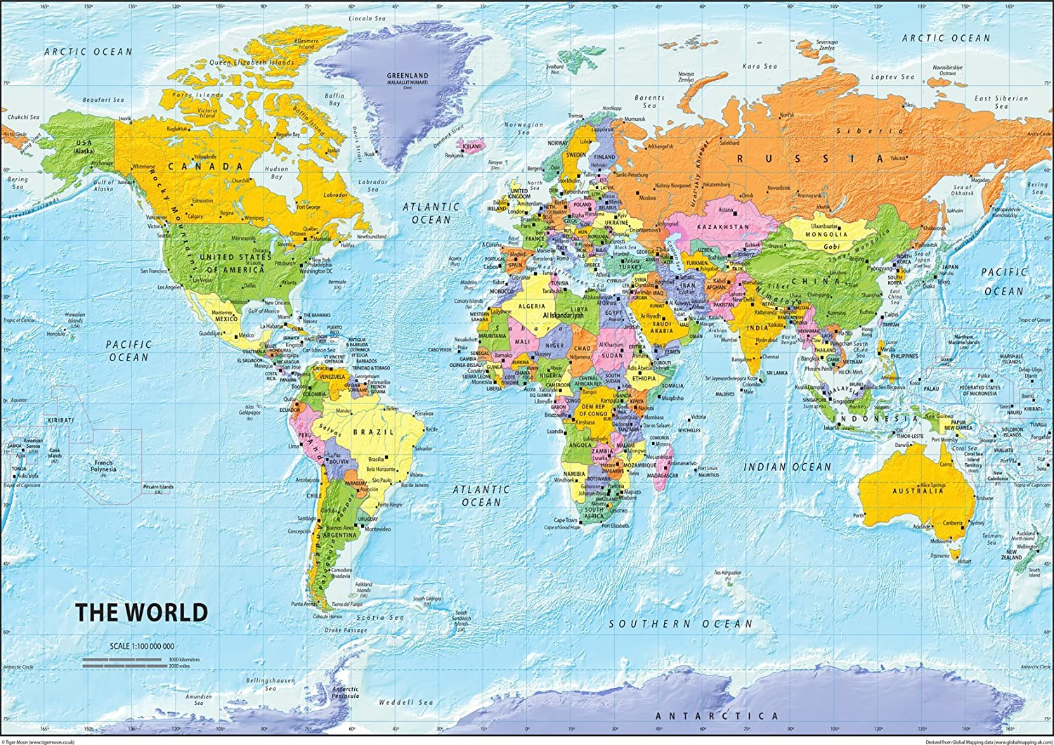 I Love Maps - The World Political Map - Paper Laminated - A2 Size 42 x 59.4  cm