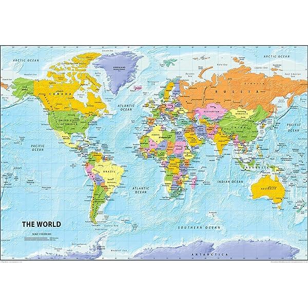 Carte politique du monde, papier plastifié, format A2 42 x 59,4 cm ...