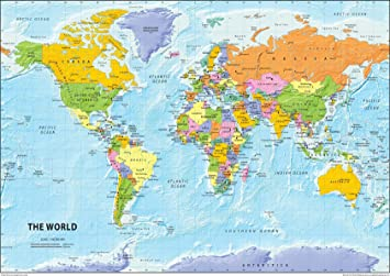 I Love Maps The World Political Map Paper Laminated A2 Size 42