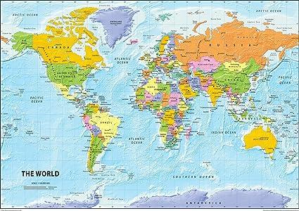 Carte Monde.Carte Politique Du Monde Papier Plastifie Format A2 42 X 59 4 Cm