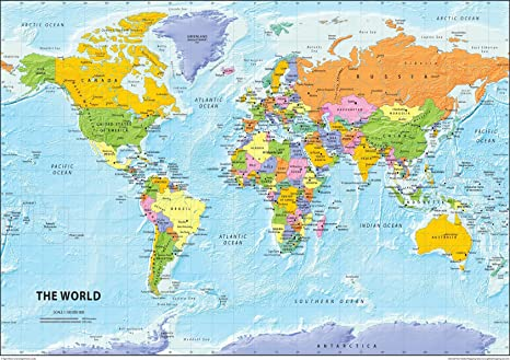 Carte Du Monde Zoomee.Carte Politique Du Monde Papier Plastifie Format A2 42 X 59 4 Cm