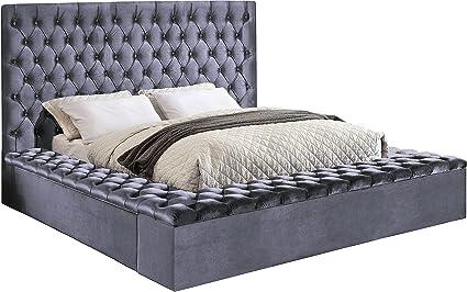 Meridian Furniture K Blissgrey K Bliss Velvet Bed, King, Grey