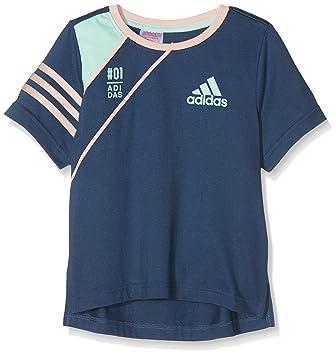 Adidas LG Co tee Camiseta de Manga Corta, Niño, Azul (Azumin/Rosvap