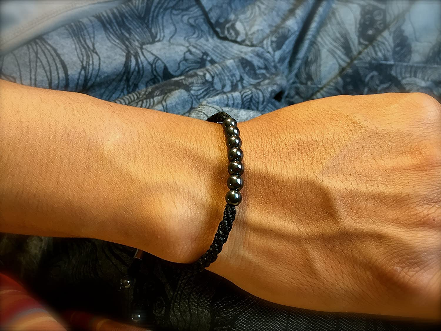 RUMI SUMAQ Black Hematite Bracelet Pull Cord Adjustable Hand Knotted Macrame Sailor Rope Jewelry for Men and Women