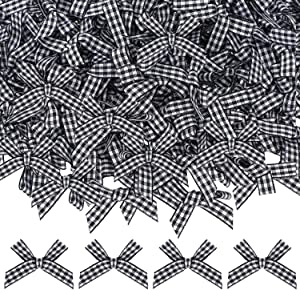 120 Pieces Mini Buffalo Plaid Bows Thanksgiving Christmas Checkered Bow Black and White Fall Bows for Christmas Tree Crafts Home Decoration DIY Making