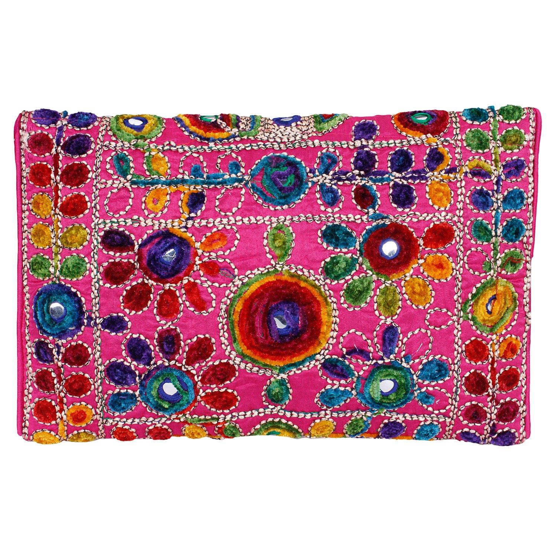 d15e807b24 Amazon.com: Pink Women Banjara Clutch Bag In Rajasthani Style Magenatic  Closure Foldover Clutch Purse -Quality Checked: Clothing