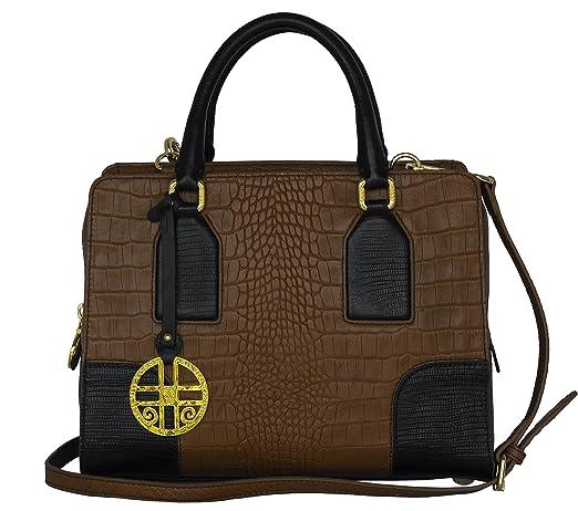 de92b69c25597 SILVIO TOSSI Damen Leder Handtasche Schultertasche Hellbraun   Dunkelbraun  Modell 11511-02