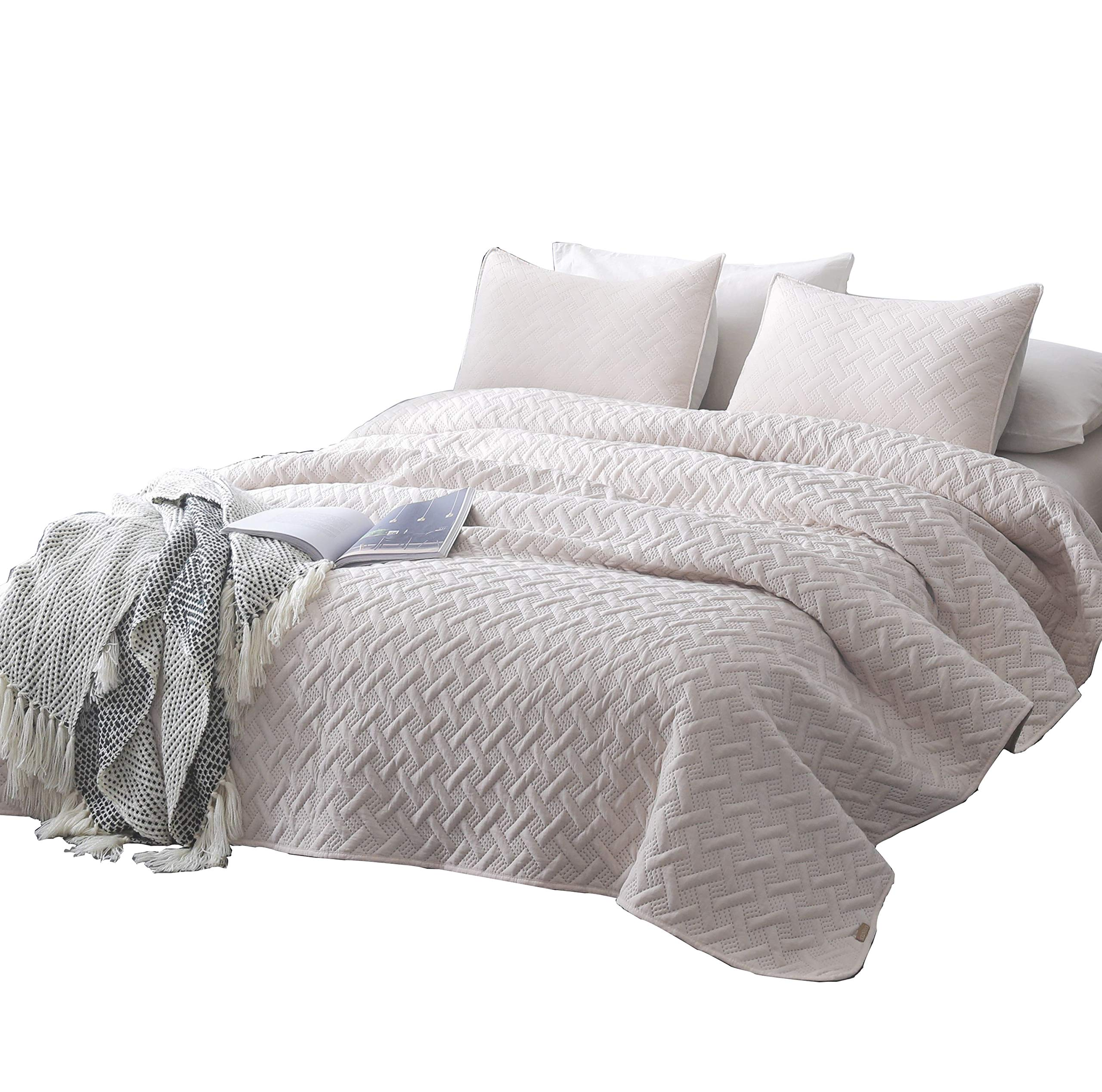 """DAWNDIOR Super Soft Quilt-Bedding-Coverlet-Sets,Queen Size with 2 Shams and 1 Lightweight Quilted Comforter with Solid Color - HIGH QUALITY- The quilt bedspread sets is Made with Top quality down alternative filling,Which Got the ECC Certification,Skin-Friendly and Breathable&Warm,The most important is Hydrophillic. SIZES AVAILABLE - We Have King Queen/Full Twin Size Quilt sets available.Single/Twin 68x86""""+20x26""""X2; Full/Queen 90x90""""+20x26""""x2; King 100x90""""+20x36""""x2 EASY CARE -Machine Washable with cold, gentle cycle. Tumble dry on low settings.Our quilt coverlets set is pre-washed and is extremely easy to care. - comforter-sets, bedroom-sheets-comforters, bedroom - 918uKOXLOVL -"""