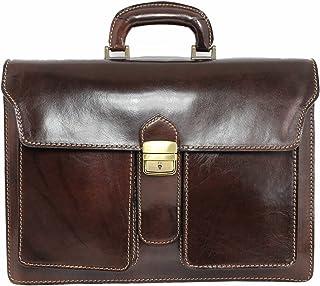 Aktentasche Leder Damen Herren große Leder-Tasche Herren-Tasche Dokumententasche Arbeitstasche Notebook-tasche Laptop-tasche bis 15.6 Zoll Schultertasche Umhängetasche Tasche Echt-Leder braun 05965
