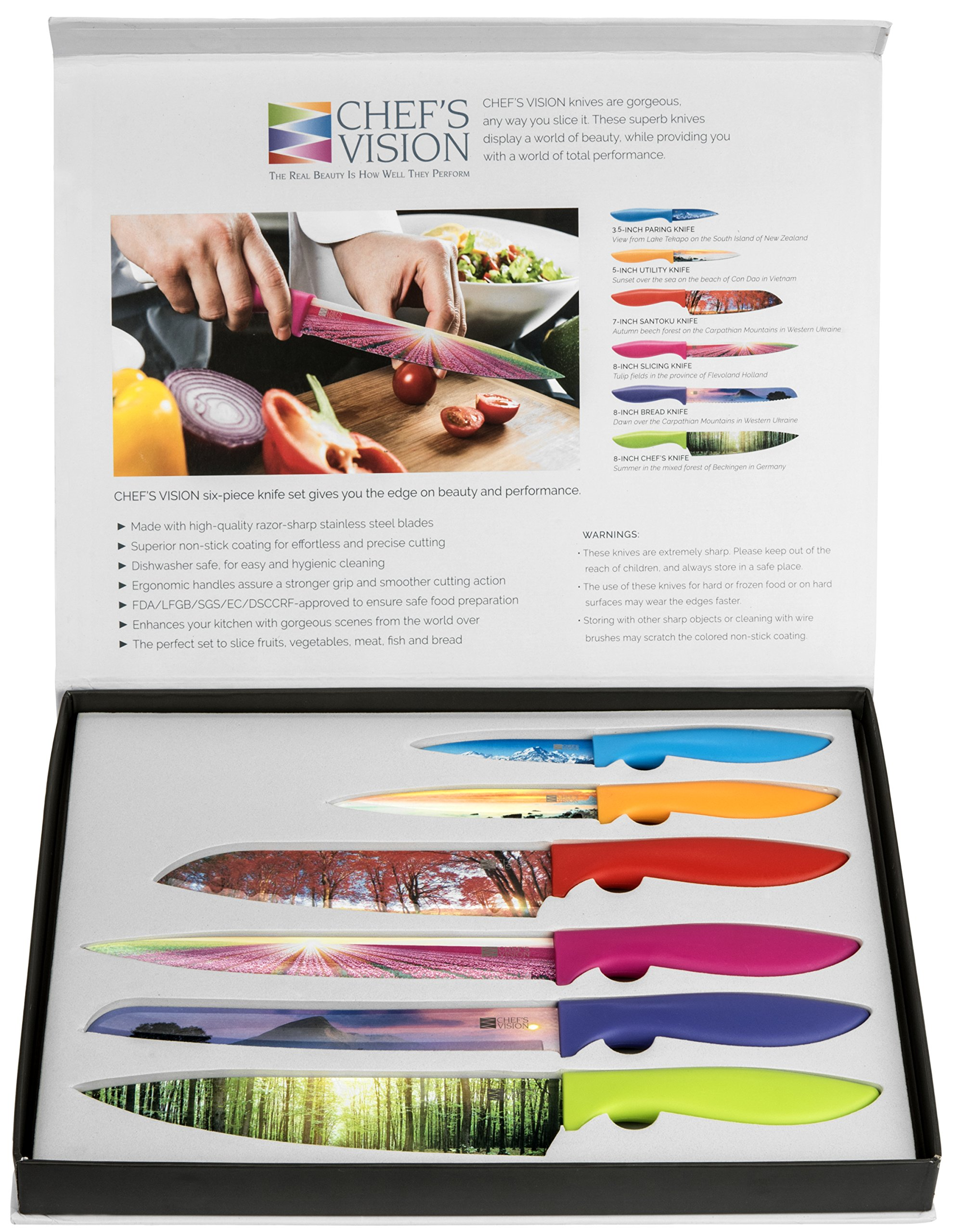 Kitchen Knife Set in Gift Box by Chef's Vision - Landscape Series - Beautiful, Unique Gifts For Her and For Him - 6 Piece Color Knife Set - Chef, Bread, Slicer, Santoku, Utility and Paring Knives by Chef's Vision (Image #9)
