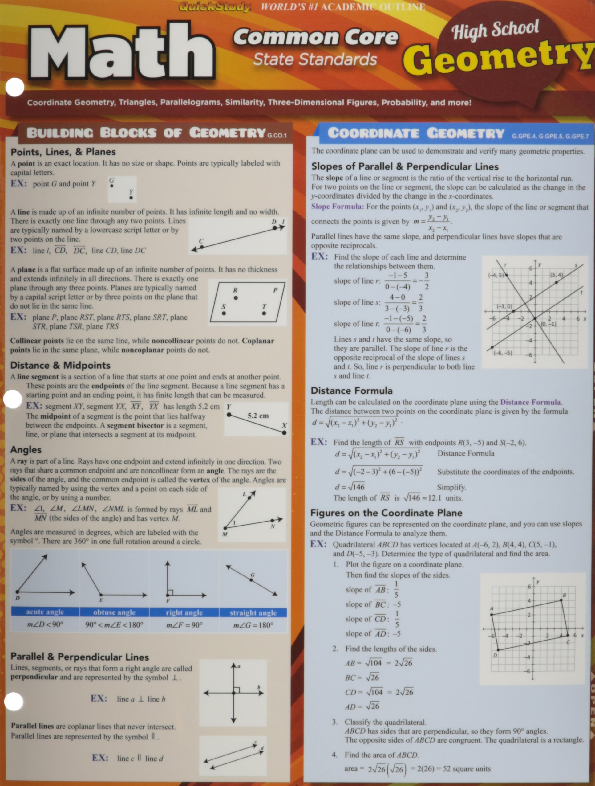 Math Common Core Geometry 10Th Grade: Inc. BarCharts: 9781423222941 ...