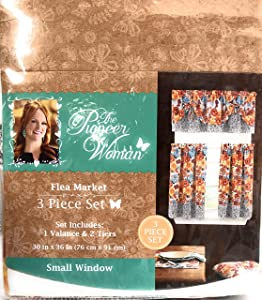 "The Pioneer Woman ""Flea Market"" 3-Piece Window Set 1 Valance & 2 Tiers"