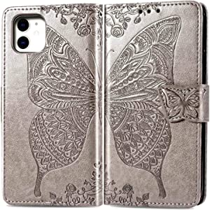 CaseHQ Wallet [Butterfly & Flower Embossed] [Wrist Straps] Case Compatible with iPhone 11 6.1 inch Phone Wallet Case,Dual Magnetic Closure PU Leather Wallet Flip Cover with Card Slots Stand -Silver