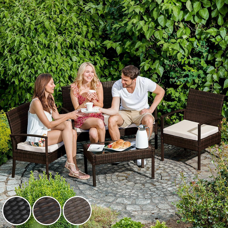 TecTake Conjunto muebles de Jardín en Poly Ratan Sintetico - negro 4 ...