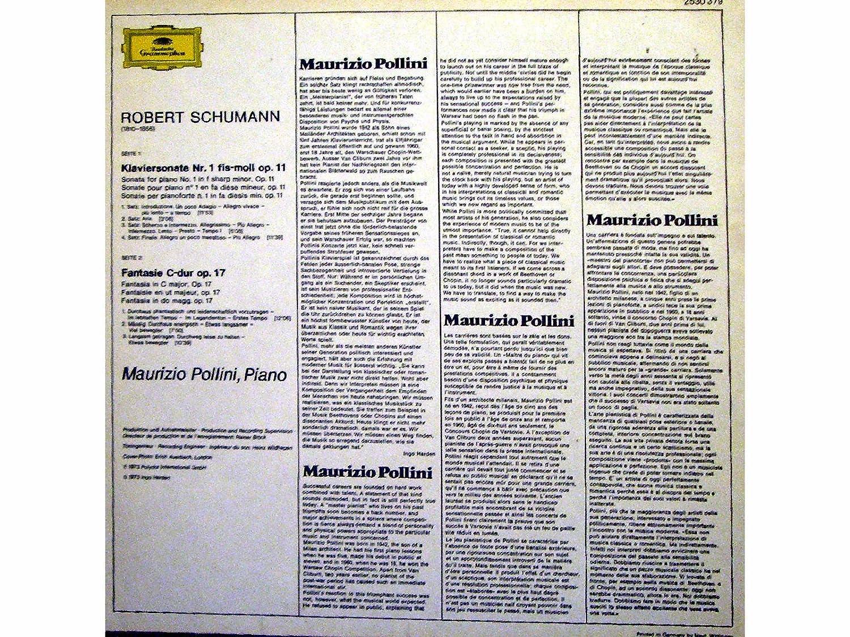 Fantasie C-Dur Op. 17 - Sontae Fis-Moll Op. 11 : Robert Schumann - Maurizio Pollini: Amazon.es: Música