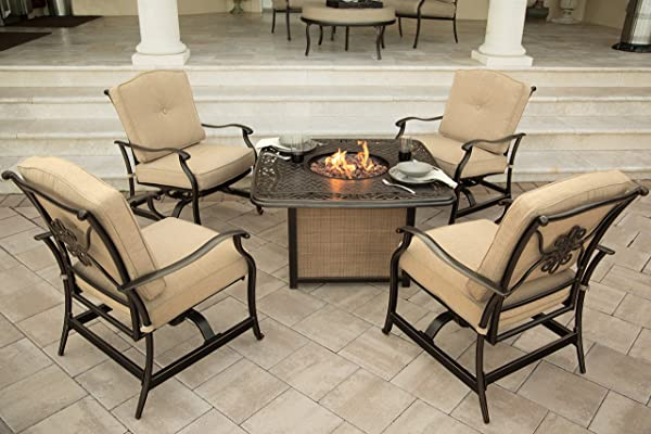 Hanover 5-Piece Traditions Outdoor Cast Tabletop Fire Pit Lounge Set, Natural Oat/Antique Bronze