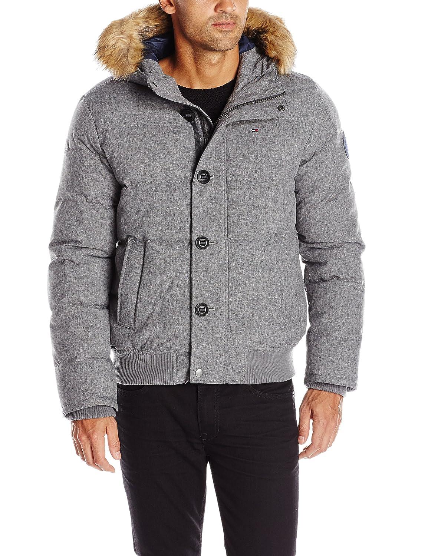 トミーヒルフィガー メンズ 防寒用布キルト風 シュノーケルボンバージャケット 取り外し可能なフェイクファーのトリム付きのフード B01L0AY7JS  ヘザーグレー 3L